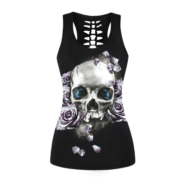 Fitness Tops Gothic Skull 3D Printed Beauty Back Hollow Out Sleeveless