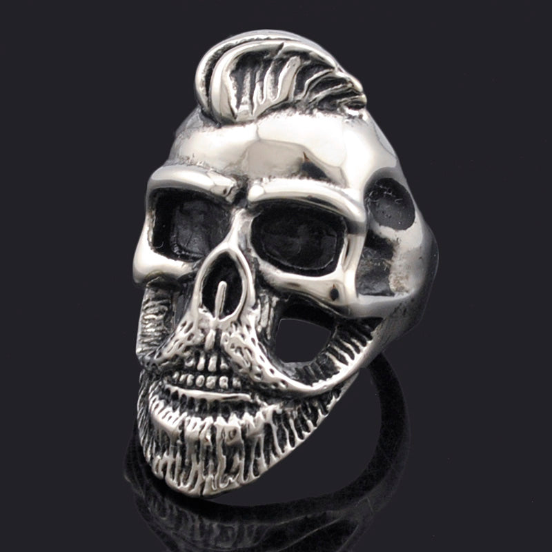 Rock Punk Fashion Hairstyle Beard Skull Hooded Rings For Men Stainless Steel Cool Charm Jewelry