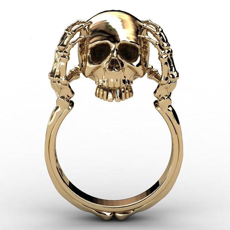 Hell Death Gold Skull Ring Man Never Fade Punk Biker High Quality SKull Claw Ring