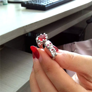 Uloveido Red Ring Cubic Zirconia Skull Silver Color Rings