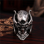 Men Tough guy punk style Retro Armor warrior skull rings high quality 316L Biker