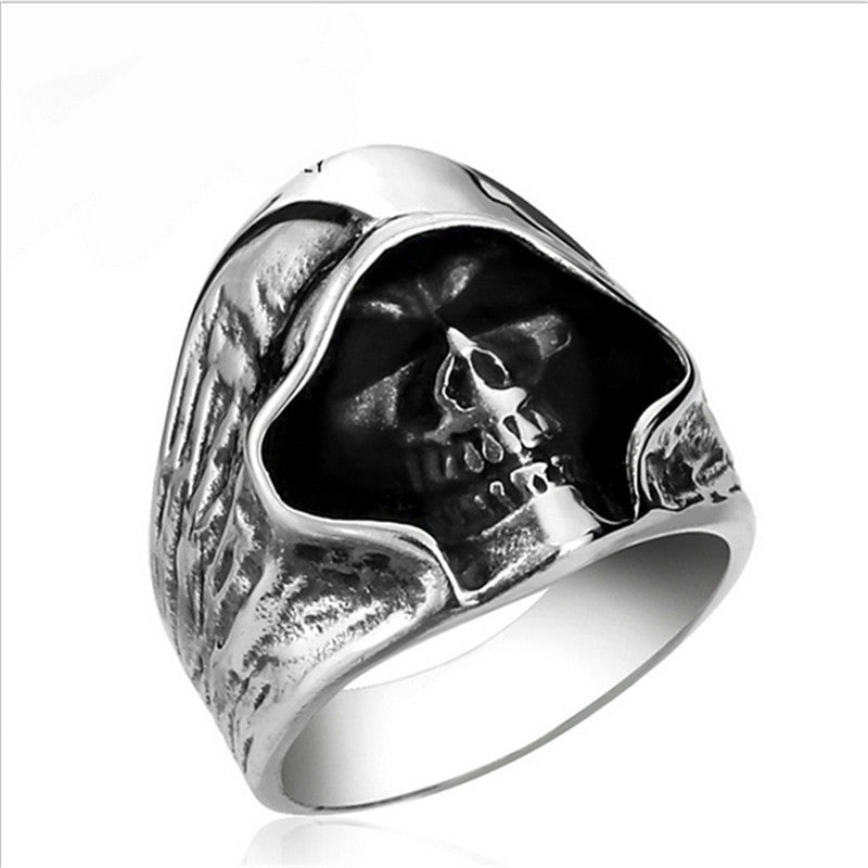 Tough guy punk style Retro grim Reaper skull rings high quality
