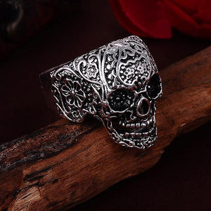 Fashion Hot Sale Silver Skeleton Ring Ring Jewelry Punk Floral Skull Biker Personality