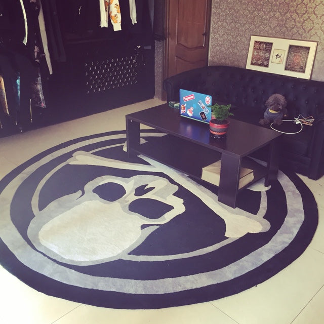 Round carpet trend personality black and white living room sofa bed bedroom