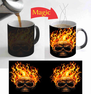 Fire On Skull mugs heat changing color coffee mug heat transfer  Ceramic Tea art porcelain mugs