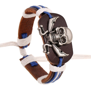 New Design Hand Woven Skull Leather Bracelet Women Casual Personality Vintage Punk
