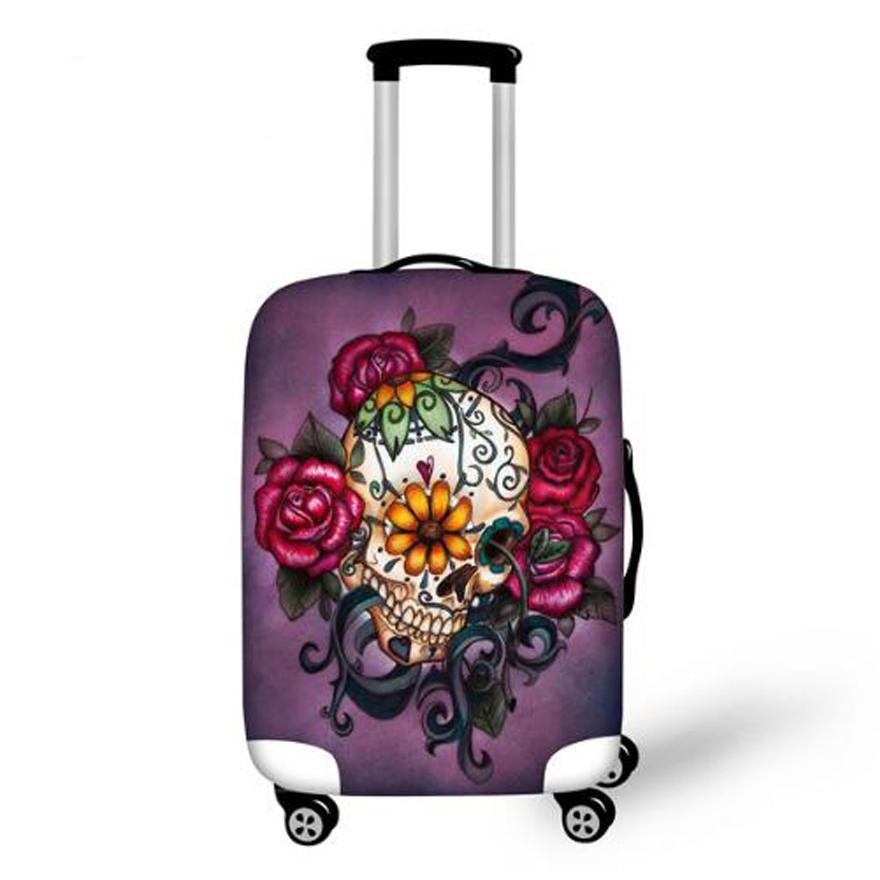 Travel Luggage Protective Cover,Skull Dust Covers to 18-28 inch Case Elastic Waterproof Suitcase Cover