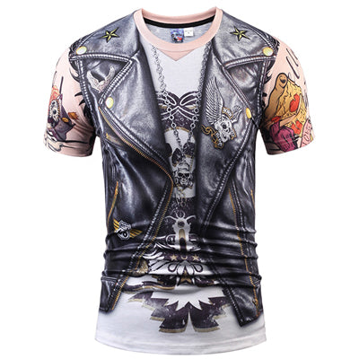 3D T Shirt Skull Short Sleeve Hip Hop Fashion Tee Shirt Homme Slim Fit Halloween Cosplay T-shirt