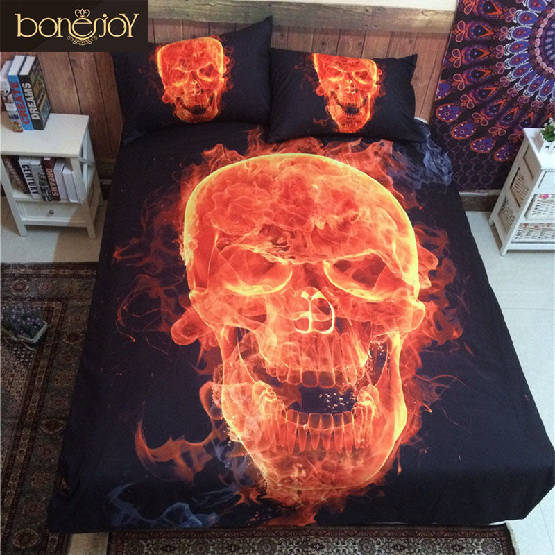 3D Skull Bedding Queen Fire Printed Polyester Cotton Bed Sheet Black Bedspread