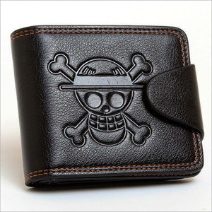 Monkey Luffy Straw Hat Pirates Anime Skull Wallet Purse Black PU Leather