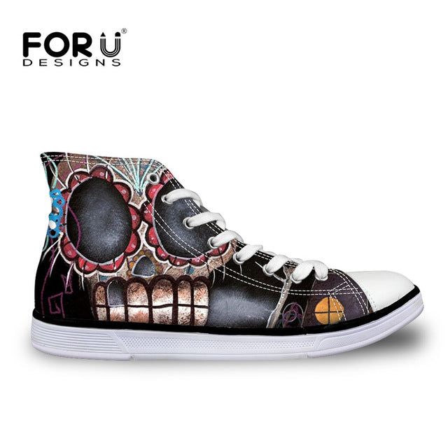 Classic Women High Top Canvas Shoes Vintage Punk Skull Casual Lace-up Shoes