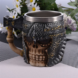 Viking Skull Horned Helmet Tankard Skull Warrior Tankard