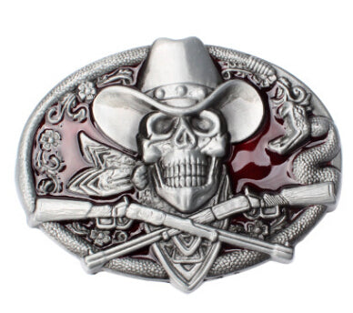 Gun Skull belt buckle metal Skull head belt wild western style diy Belt accessories