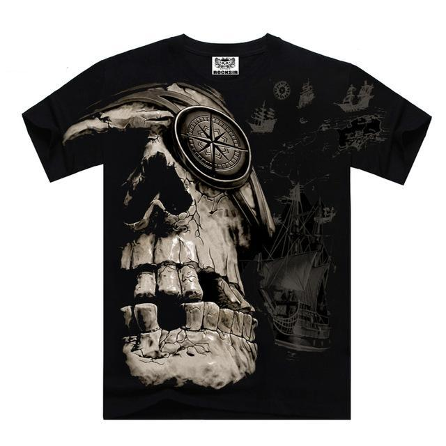 Men's T shirt Skeleton t shirts for Men Skull Design full print black t shirt men brand clothing