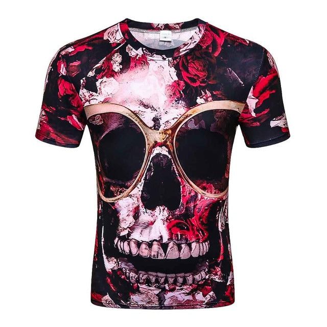 New casual tops tee harajuku summer 3d t shirts hip hop graphic print flower skull t-shirt 3d