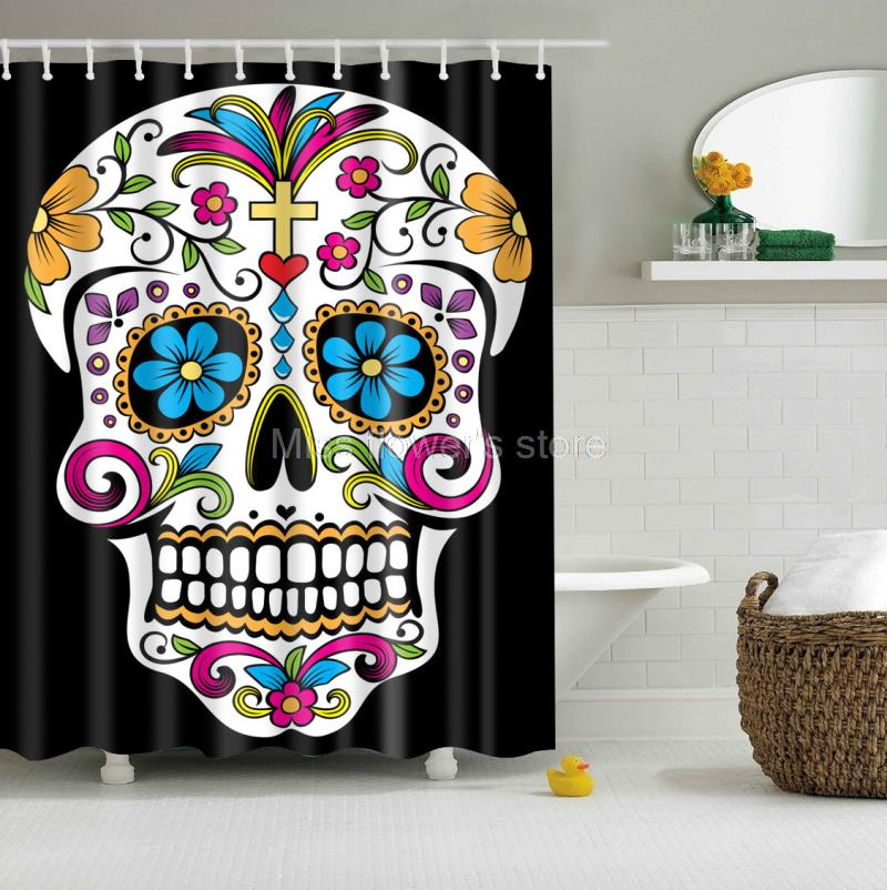 Skeleton Skull Totem Design Custom Shower Curtain Bathroom Waterproof