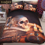 Bonenjoy 3D Skull Duvet Cover Queen Size Polyester Cotton Bed Sheet Skull With Candle