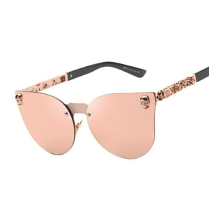New Rose Gold Sunglasses Women Skull Mirror Brand Designer Metal Frame Sun Glasses