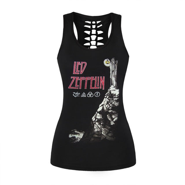 Women Fitness Tank Tops Gothic Punk Style O Neck Sleeveless Tee Tight Vest Tops