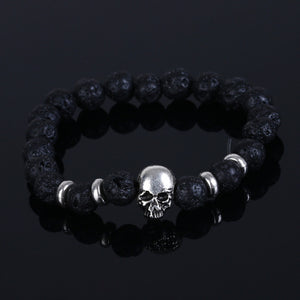 Natural Stone Skull Bracelets For Women Lava Stone Beads Stone Men Bracelet