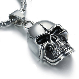 Stainless Steel Gothic Punk Skull Black Silver Tone Necklace Pendant Mens Boys Jewelry
