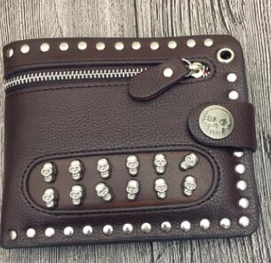 Men Rock Punk Rivet Biker Skulls Money Black Leather Zipper Wallet Men Gift