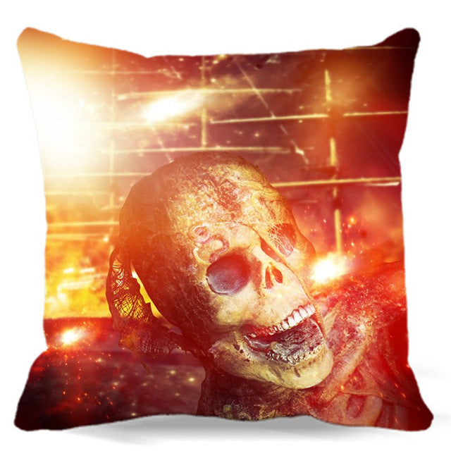 Skull wrapped around spider web of Square soft Cushion Cover For Sofa Bed car home Decorative