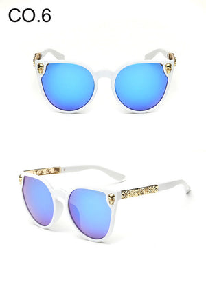 Black Sunglasses Women Brand Designer Skull Sun Glasses Ladies Retro White Frame
