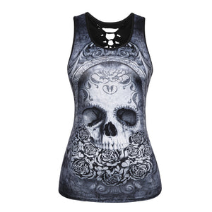 Women Summer Tank Tops Halloween Ghost Skull Digital Printing Top Sexy Back Hollow Cotton