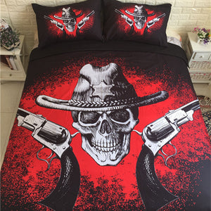 3D Skull Bed Sheet Gun Duvet Cover Europe Style Black And Red Queen/King Size