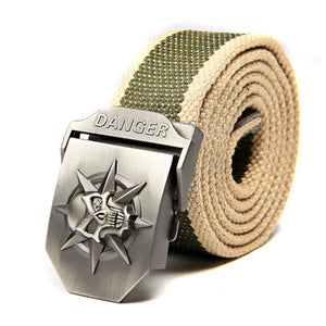 Skull Canvas Belt Men Metal Buckle Canvas Strap Belt Brand Tactics Woven Belt