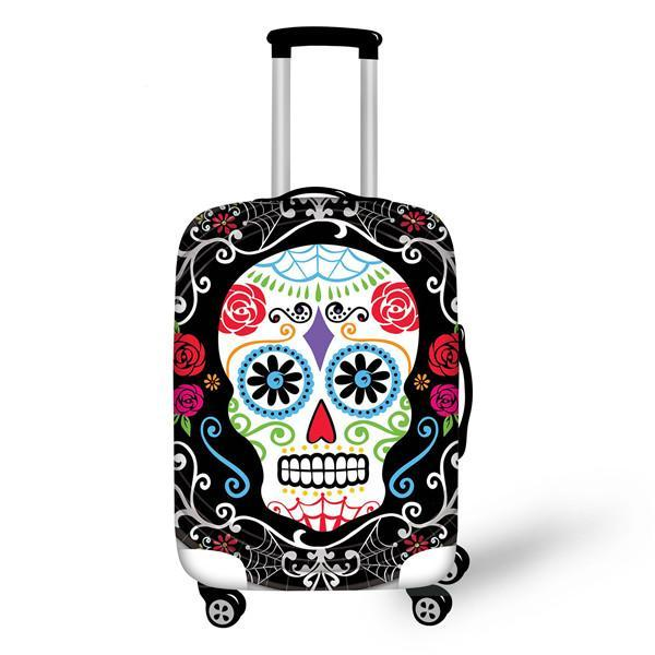 Luggage Cover 3D Vintage Sugar Skull Roses Travel Accessories for 18''-30'' Travel Case Suitcase Protective Cover