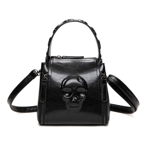 Black Skull Bags Clutch Women Handbag Embossed Leather Tote