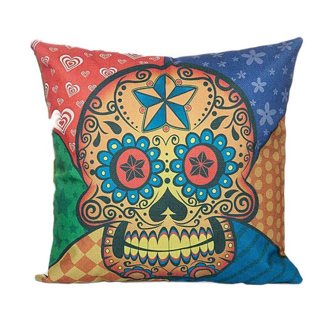 Flower Punk Style Mexico Skull Cotton Linen Cushion Cover Chair Seat