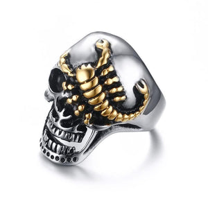 Skull Bone Biker Rings Punk Scorpion Stainless Steel Male Retro Jewelry