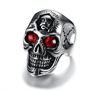 Hiphop Stainless Steel Skeleton Rings for Men Jewelry with Red Stone Halloween Undead Decorations