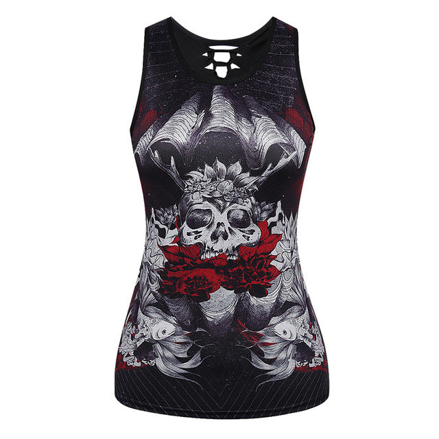 3D Skull Printing Women Tank Tops Sleeveless Hollow Out O Neck Black Vest