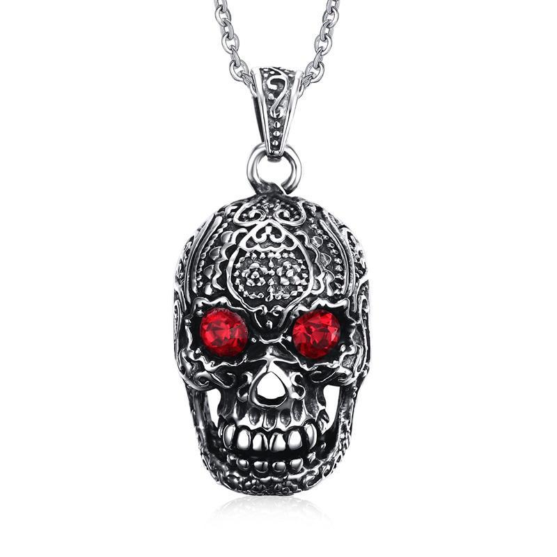 "Vnox Punk Men Necklace Pendant Stainless Steel Gothic Skull Hallowmas Party Jewelry 24"" Cable Chain"