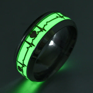 Heart Shape Luminous Ring Glowing in Dark  Couple  Rings