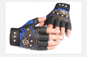 Skulls Rivet PU Leather Fingerless Gloves Men Women Fashion Hip Hop
