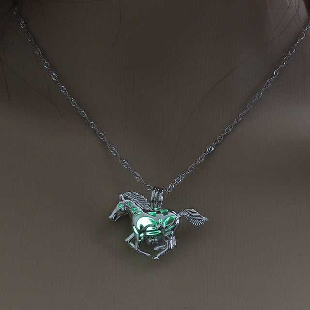 Glow in the Dark necklace Silver Chain Jewelry Ancient Running Horse Pendants