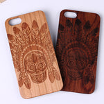 Sugar Skull Tribal Indian Mandala Laser Engraved Real Wood Case
