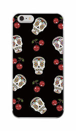 Pink Rose Skull Pattern Soft TPU Clear Phone Case Fundas Coque For iPhone & SAMSUNG