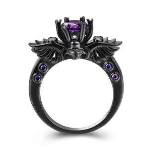 Vintage Skull Shaped Ring Purple CZ Cubic Zirconia Fashion Jewelry