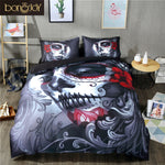 Black Skull Bedding Set Halloween Style Bed Sheet Queen King Double Bed Linen Cotton