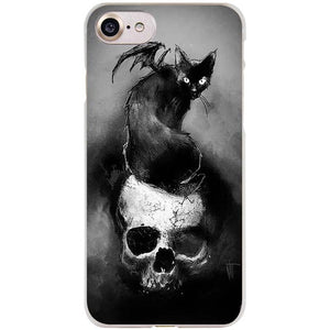 Skull terror design Clear Cell Phone Case Cover