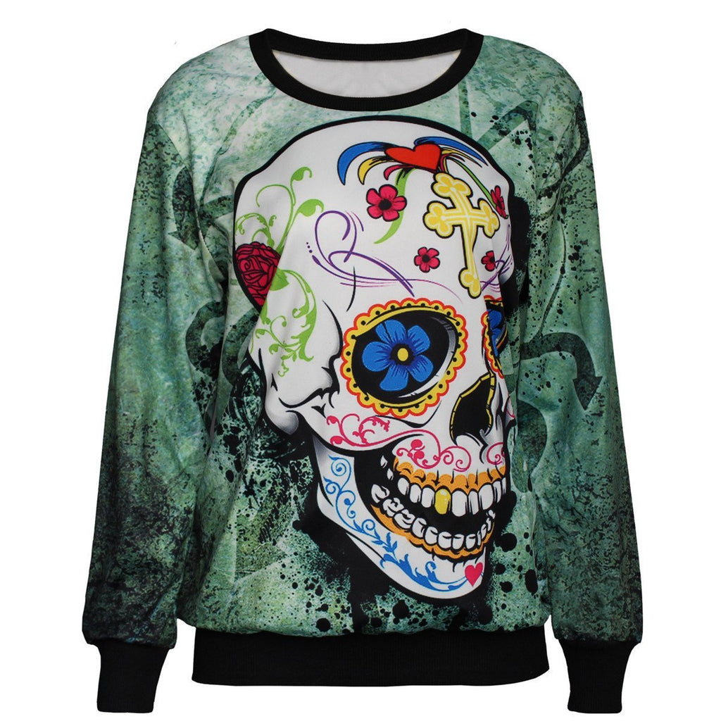 Floral Skull Printed Coats Fashion Womens Cat Print Long Sleeve Hoody Sweatshirt