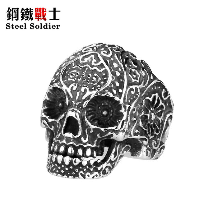 Steel soldier New Vintage Garden Flower Skull ring Black TITANIUM Mens Rings Fashion Jewelry