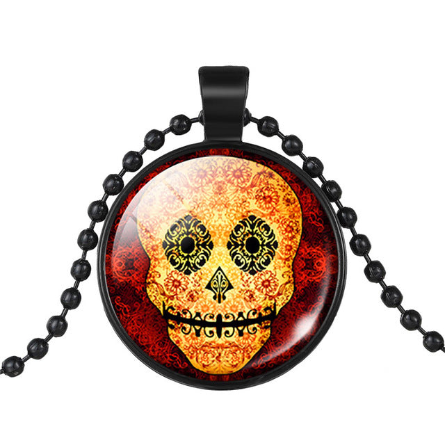 Mexican Sugar Skull Pendant Day Of The Dead Necklace Beads Chain Glass Jewelry Necklace