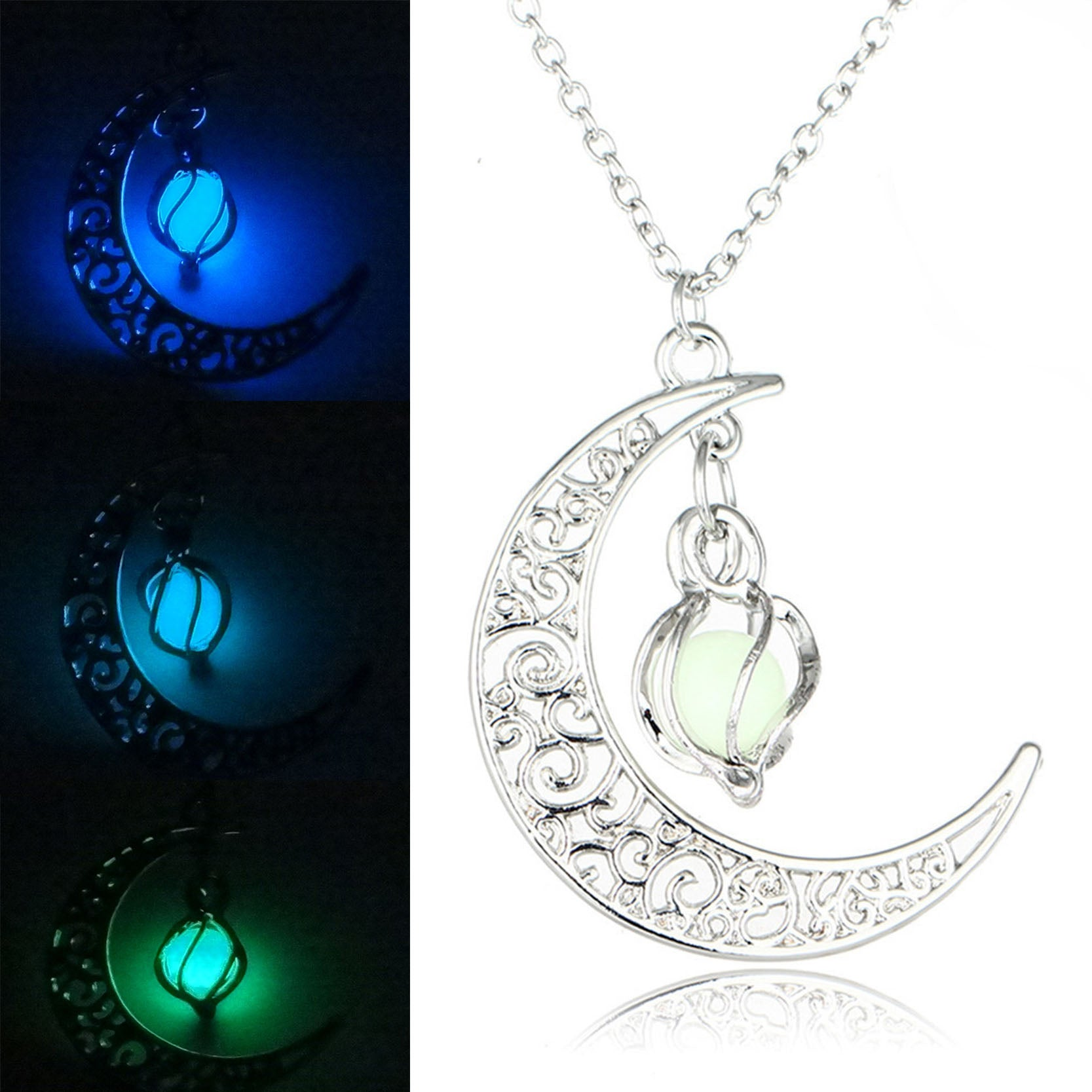 Glow In the Dark Jewelry Silver Plated with Crescent Shaped Loket Pendant